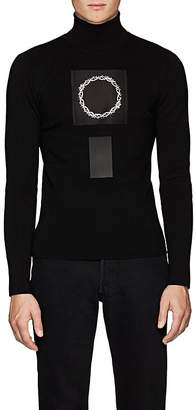 ALYX Men's Thorn-Crown-Patch Rib-Knit Wool Turtleneck Sweater