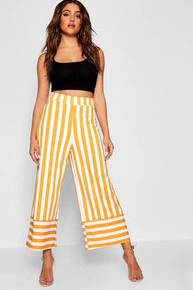 boohoo Crepe Stripe Contrast Culotte Trouser