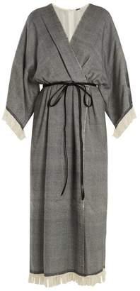 ADAM by Adam Lippes Fringed Wool Blend Wrap Dress - Womens - Black Multi