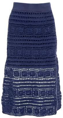 STAUD Marlin Cotton Crochet Midi Skirt - Womens - Navy