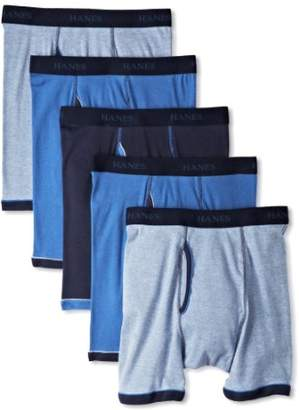 Hanes Men's 5-Pack Ultimate FreshIQ Exposed Waistband Ringer Boxer with ComfortFlex Waistband Brief- Colors