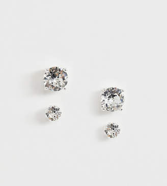 Swarovski Asos Design ASOS DESIGN stud earring pack with crystal in silver