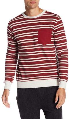 Soul Star Patch Pocket Stripe Crew Neck Pullover