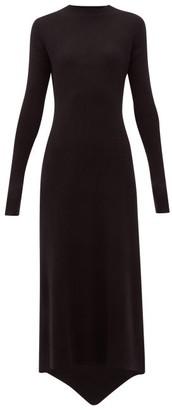 Raey Fishtail Ribbed Cashmere Dress - Womens - Black