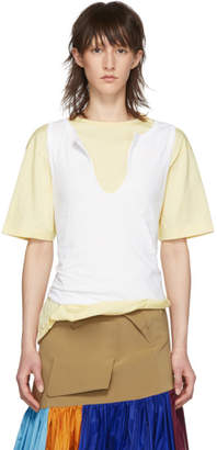 Marni White and Yellow Tank Top T-Shirt