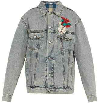 Gucci Heart Applique Oversized Denim Jacket - Mens - Light Blue