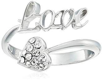 "Swarovski Sterling Silver ""Love"" Sentiment and Heart Open Ring Made with Crystal (Size 7)"