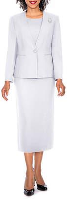 GIOVANNA SIGNATURE Giovanna Signature Women's 3-piece Microfiber Collarless Skirt Suit - Plus