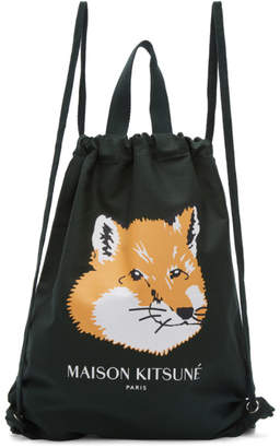 MAISON KITSUNÉ Green Fox Head Backpack