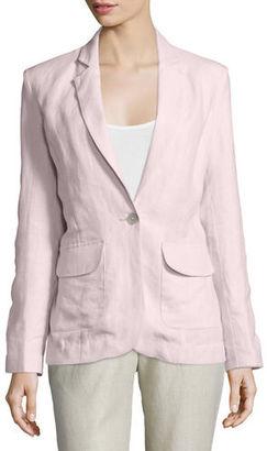 Neiman Marcus One-Button Fitted Linen Blazer, Plus Size $225 thestylecure.com