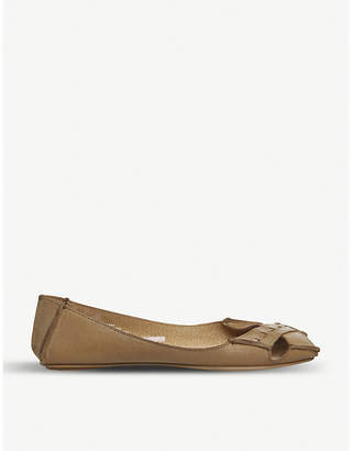 Office Face to Face leather peep-toe flats