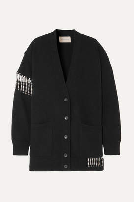 Christopher Kane Oversized Crystal-embellished Wool Cardigan - Black