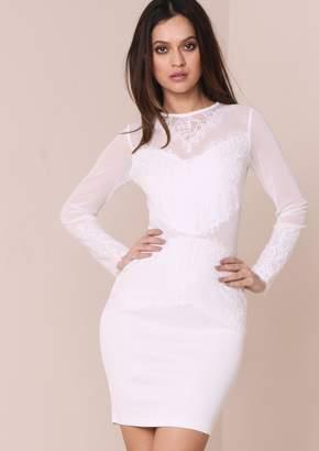 Missy Empire Missyempire Amaya White Mesh Panel Lace Bodycon Dress f4d02ce78