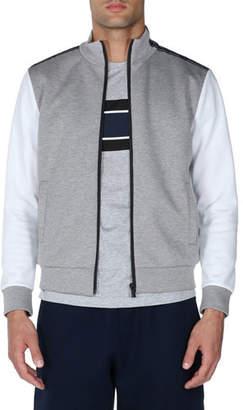 Fendi Colorblock Striped-Trim Zip-Front Sweater