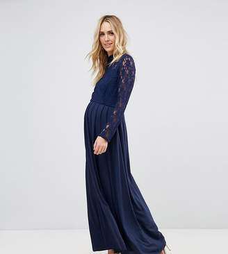 Queen Bee Over Lace Top Maxi Dress With Open Back