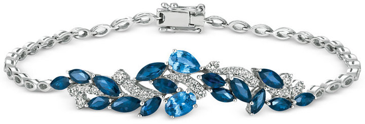Le Vian® Sapphire (3-3/4 ct. t.w.) and Diamond (1/2 ct. t.w.) Link Bracelet in 14k White Gold, Only at Macy's