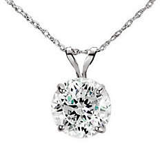 Diamonique 100 Facet 2 ct tw Pendant w/Chain, 1