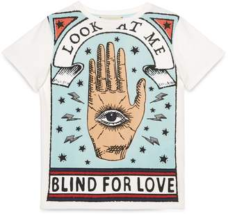 """Gucci Children's cotton T-shirt with """"Blind for Love"""" print"""