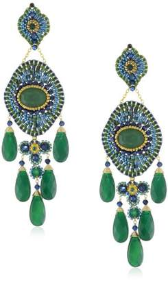 Miguel Ases Blue Gold Stone and Onyx 5-Drop Earrings