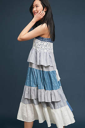 Binetti Love Tiered Patchwork Midi Dress