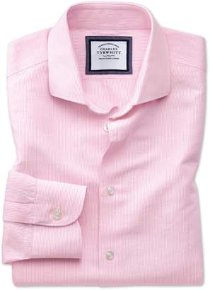 Charles Tyrwhitt Extra Slim Fit Spread Collar Business Casual Linen Cotton Pink and White Cotton Linen Mix Dress Shirt Single Cuff Size 15/34