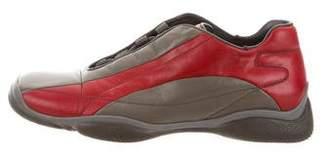 Prada Sport Leather Square-Toe Sneakers