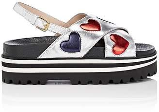 Gucci Women's Sunrise Metallic Leather Platform Sandals