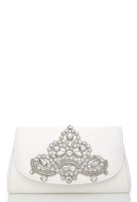 Quiz White Jewel Trim Clutch Bag