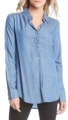 Karen Kane Chambray Half Placket Button Front Shirt