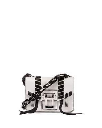 Proenza Schouler Hava Leather Chain Crossbody Bag, White/Black $1,650 thestylecure.com