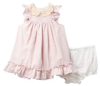 Laura Ashley Ruffle Sleeve Peter Pan Collar Dress (Baby Girls 0-9M)