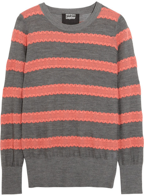 Markus Lupfer Striped cotton and wool-blend sweater