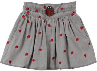 Stella McCartney Ladybugs Embroidered Chambery Skirt