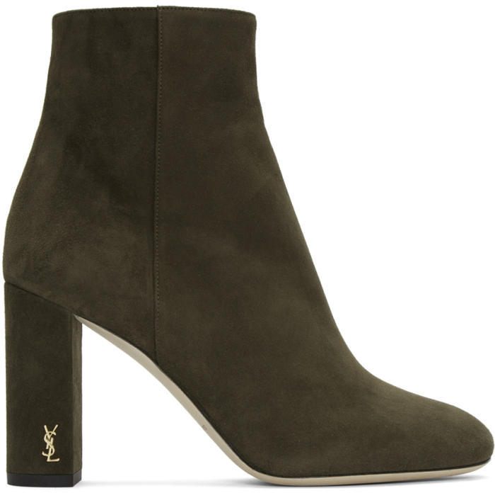Saint Laurent Green Suede LouLou Zipped Boots