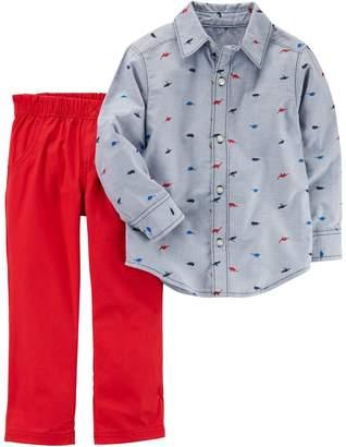 Carter's Baby Boy Chambray Dinosaur Shirt & Pants Set