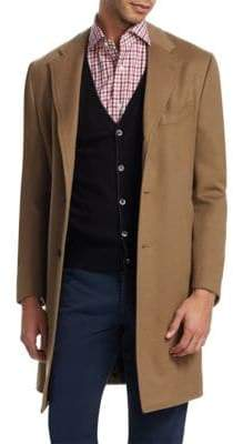 Isaia Ross Notch Lapel Wool Topcoat