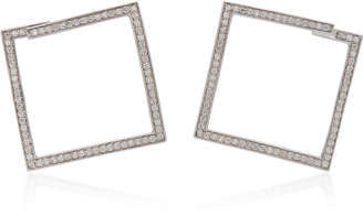 Lynn Ban Jewelry Rhodium-Plated Silver Diamond Hoop Earrings