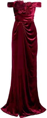 Marchesa Off-the-shoulder Appliquéd Velvet Gown - Burgundy