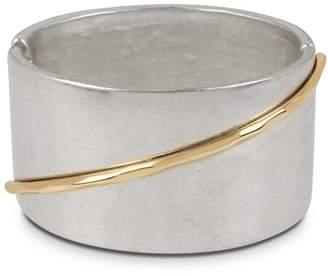 Robert Lee Morris Soho Two-Tone Sculptural Wide Hinged Bangle Bracelet