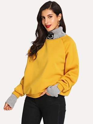 Shein High Neck Raglan Sleeve Sweatshirt
