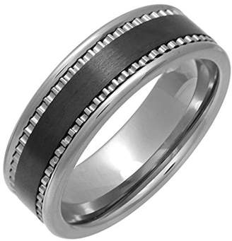 Theia Nickel Free Tungsten & Ceramic - Black Matted Strip - 7mm Wedding Ring for Gents - Size M