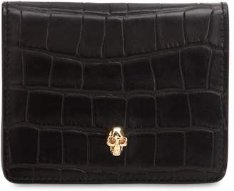 Alexander McQueen Small Croc Embossed Leather Coin Wallet