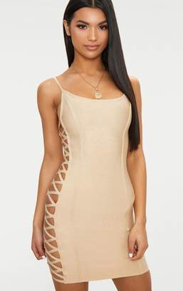 PrettyLittleThing Nude Bandage Lace Up Side Bodycon Dress