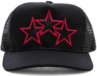 Amiri Leather Stitch Star Trucker Hat
