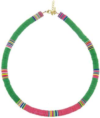 ALLTHEMUST Large Green and Hot Pink Heishi Bead Necklace - Yellow Gold