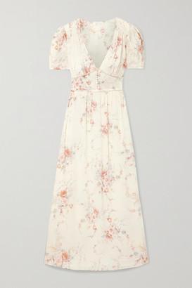 LoveShackFancy Ariel Floral-print Silk-georgette Maxi Dress - Ivory