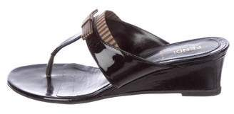 Fendi Pequin Wedge Sandals
