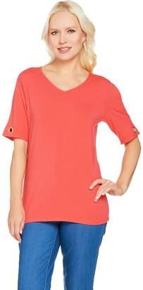 Denim & Co. V-Neck Split Short Sleeve Top with Grommet Detail