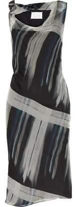 Maison Margiela Draped Printed Silk-Georgette Dress