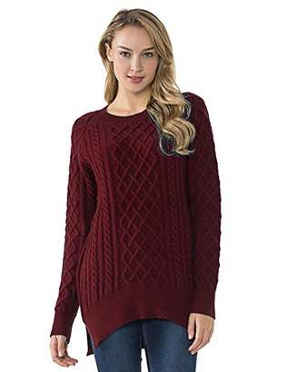 Lynz Pure Women's Cable Knit Sweater Crewneck Split High Low Pullover Tops M